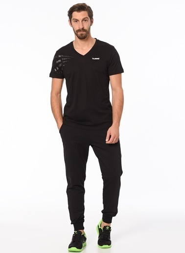 Hummel V Yaka Tişört Siyah